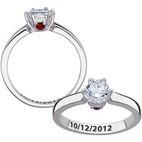 Walmart: Personalized Secret Expressions Sterling Silver CZ Solitaire Hidden Birthstones Couples Ring