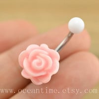 pink rose Belly Button jewelry,rose Navel Jewelry,rose bud belly button ring,girlfriend gift,summer jewelry