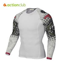Actionclub Men Quick Drying Tights Male Long Sleeve T-Shirt Breathable Sport T-shirt for Outdoor Camping Fitness Running Riding