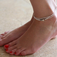 Delicate White Anklet With 3 Silver Beads - Multistrand Ankle Bracelet - Anklet Triple Strand - Colorful Anklet