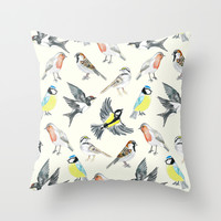 Illustrated Birds Throw Pillow by Tangerine-Tane | Society6