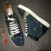 DCCK2 Cl Christian Louboutin Rhinestone Style #1956 Sneakers Fashion Shoes