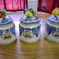 Country chic coffee tea and sugar canister set fruit and florals ceramic