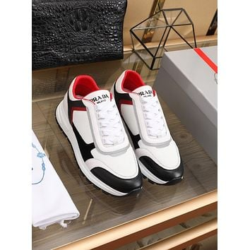 prada men fashion boots fashionable casual leather breathable sneakers running shoes 126