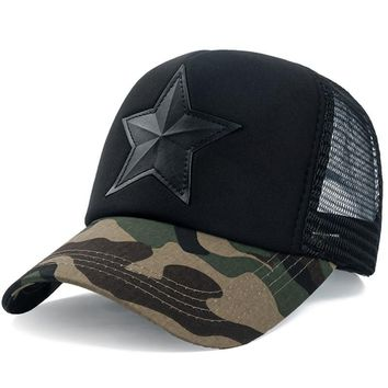 Trendy Winter Jacket New 3D Five-pointed Star Embroidery Mesh Baseball Cap Fashion Summer Snapback Camouflage Hat Cap For Men & Women Leisure Cap AT_92_12
