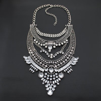 Bohemian Statement Necklace Vintage Silver Choker Collar Gypsy Style Crystal Pendant