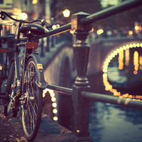 Amsterdam Photography, Bike Art, Blue Black Night, Bridge Lights, Dreamy, City, Urban, Bicycle Photograph, Europe - Going Dutch