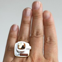 Kawaii Miniature Food Rings - A Cup of Hot Chocolate with Marshmallows