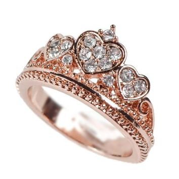 Rose Gold Triple Heart Amore Crown Ring
