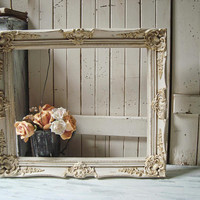 Antique Cream and Gold Ornate Frame, Rustic Cream Large Open Frame, Shabby Chic Frame, Wedding Frame, Farmhouse Cream and Gold Wooden Frame