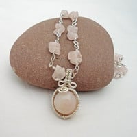 Rose Quartz Wire Wrapped Necklace, Wire Wrapped Pendant, Gemstone Necklace, Pink Necklace, UK Seller