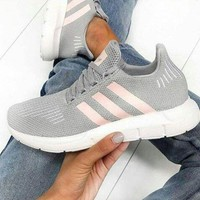 Adidas Swift Run Fashion New Sports Leisure Running Women Shoes Gray