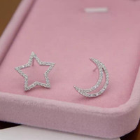 Asymmetry stars and the moon 925 Sterling Silver Earrings