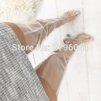 chunky heels pvc transparent clear heels woman thigh high boots crystal heels sexy wom  number 1