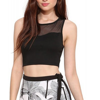 Black Sleeveless Cropped Top with Mesh Upper