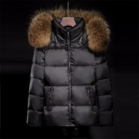 Soperwillton 2017 Luxury Large Raccoon Fur Hooded Coat Slim Puffer Jacket Thicken Warm Outwear Padded Women Winter Coats BC0701