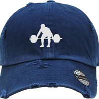 WEIGHT LIFTING Distressed Baseball Hat