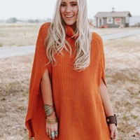Too Easy Turtleneck Poncho Sweater - Mustard