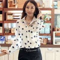 Chic Women Collar Shirt Five-Pointed Star Print Long Sleeves Tops Blouse