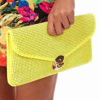 Neon Yellow Perforated Detail Clutch