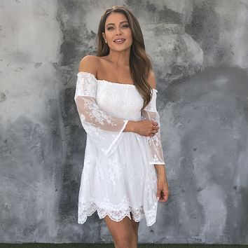 Tea Party White Laced Off Shoulder Dress