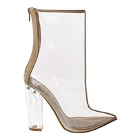 Twilight01S By Bamboo, Women's Clear See Through Lucite Perspex Glass Block Heel Ankle Bootie