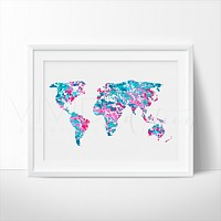 World Map 2 Watercolor Art Print