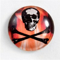 25mm Skull and Crossbones Glass Cabochon