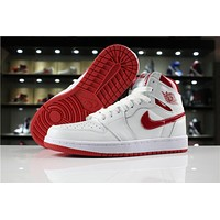 Air Jordan 1 Retro High Og White/red Basketball Shoe