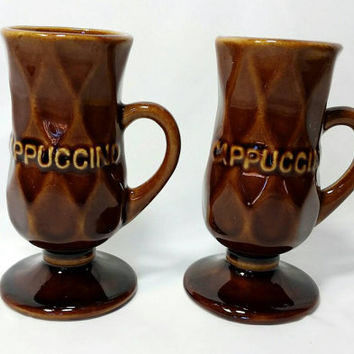 Vintage Faceted Ceramic Pedestal Cappuccino Diamond Print Mugs/Brown Ceramic 1970s Cups (Lot of 2)