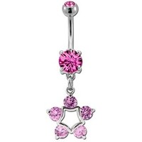 Pink Gem Star Navel Ring Dangle