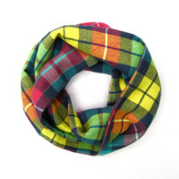 Plaid Flannel Scarf Toddler Scarf Childs Winter Scarf Green Yellow Pink Blue Gift Idea Ready to Ship