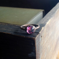 Pink Vintage Glass Cabochon Ring - Size 5