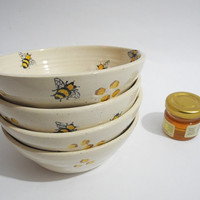 Small Ceramic Bowl, Cereal Bowl, Soup Bowl, Dessert Bowl, Handmade Pottery, Handpainted Bees and Honeycomb
