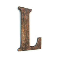 Industrial Wall Letter L grunge copper faux finish mesh painted decorative letter made to order alphabet letters and symbols 10 inch