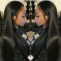 "Alicrown Straight Lace Front Human Hair Wigs Free Part Brazilian Remy Hair Wig 8""-24""Pre Plucked Natural Hairline"