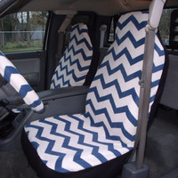 1 Set of Blue and White Chevron Print Car Seat Covers and 1 Piece Steering Wheel Cover Custom Made.