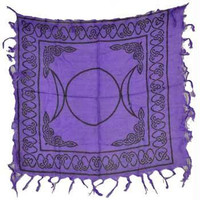 """18"""" X 18"""" Triple Moon Pentagram Altar Cloth by Azure Green 