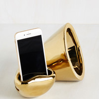 Hold the Phonograph Speaker in Gold | Mod Retro Vintage Electronics | ModCloth.com