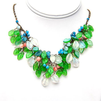 Green Flower Statement Necklace, Bib Necklace, Spring Nature Jewelry, Bridal Jewelry with dangle earrings