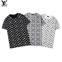 Louis Vuitton LV New Couple Full Print Presbyopia Logo Top Short Sleeve T-Shirt