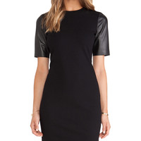 Vince Leather Sleeve Pencil Dress in Black