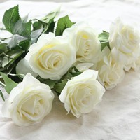 6 heads Real Touch Spring Silk Flowers Artificial Rose Flowers Bouquets For A Wedding Home Decoration