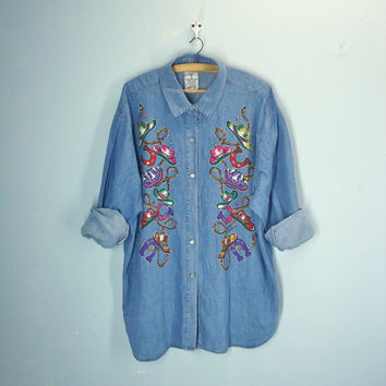 Vintage Denim Shirt / Plus Size Blouse / Novelty Cowboy Western Shirt / 3x