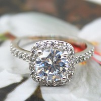 2.00 CT Cushion-Cut Queen White Swarovski Elements Ring
