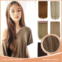 """5 Clip In Hairpiece 24"""" 60cm Long Full Head Hair Extension Synthetic Heat Resistance Natural Hair, Clip In Hair Extension"""