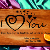 Personalized Heart engraved custom cutting board Gift for couple Wedding gift for two Love quote cutting board custom gift for her