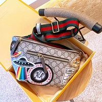 Gucci New Canvas Embroidered Pattern Waist Bag Messenger Bag