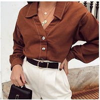 Long Sleeve Self-tie Blouse Brown Women Turn Down Collar Fashion Ladies Tops Solid Casual Office Blouse