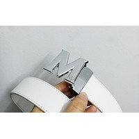 MCM Tide brand personality fashion wild smooth buckle belt White